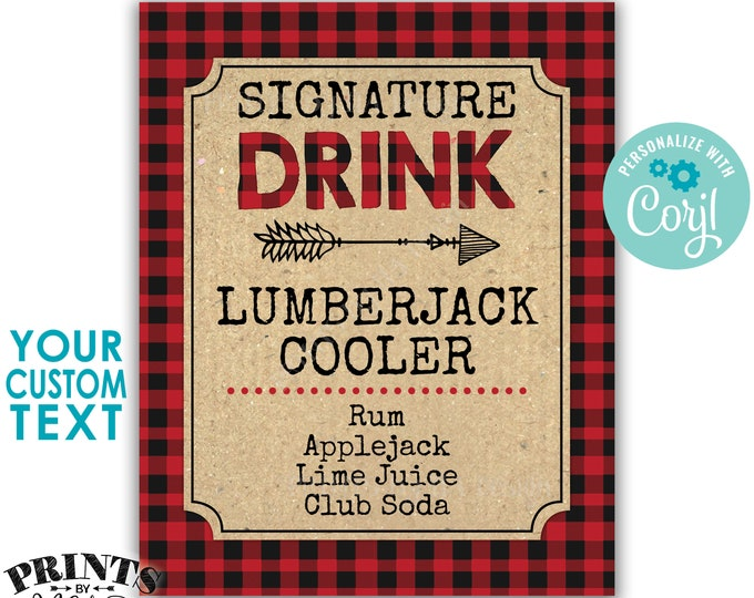 """Lumberjack Signature Drink Sign, Christmas Party Cocktail, Red Checker Buffalo Plaid, PRINTABLE 8x10/16x20"""" Sign <Edit Yourself with Corjl>"""
