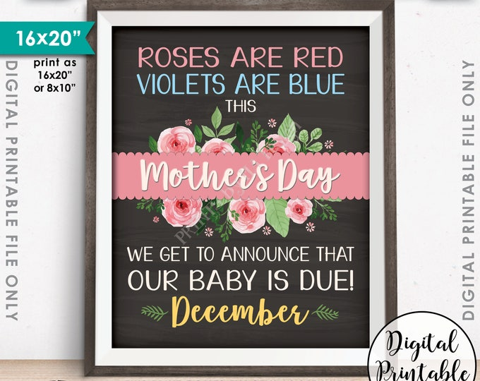 Mother's Day Pregnancy Announcement, New Mommy Mom-to-Be, Baby is Due in DECEMBER Dated Chalkboard Style PRINTABLE Baby Reveal Sign <ID>
