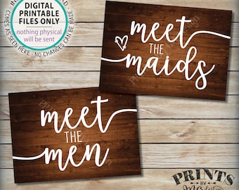 "Meet the Maids & Men Signs, Intro Maids and Men Bridal Party, Bridesmaids Groomsmen, Two PRINTABLE 5x7"" Rustic Wood Style Wedding Signs <ID>"
