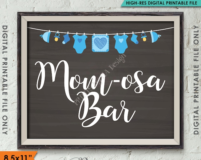 "Mimosa Bar Sign, MOMosa Sign, Make a Mimosa Drink Sign, Mom-osa Sign, Blue Clothesline, Instant Download 8.5x11"" Chalkboard Style Printable"