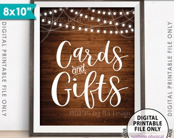 "Cards and Gifts Sign, Cards & Gifts Gift Table Sign, Wedding Sign, Birthday, Shower, 8x10"" Rustic Wood Style Printable Instant Download"