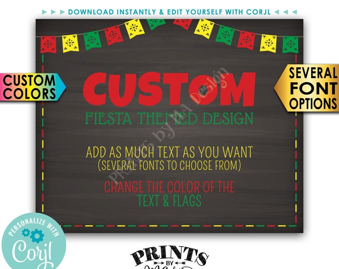 "Custom Fiesta Themed Poster, Choose Your Text & Colors, PRINTABLE 8x10/16x20"" Chalkboard Style Landscape Sign <Edit Yourself with Corjl>"