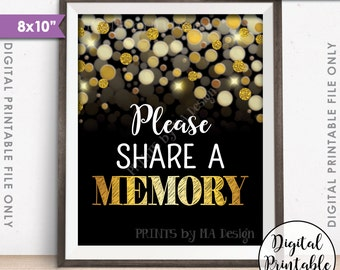 """Share a Memory Sign, Write a Memory, Birthday, Anniversary, Retirement, Graduation, Black & Gold Glitter Instant Download 8x10"""" Printable"""
