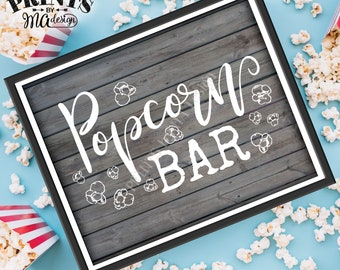 """Popcorn Bar Sign, PRINTABLE 8x10/16x20"""" Gray Rustic Wood Style Sign, Instant Download Digital Printable File <ID>"""