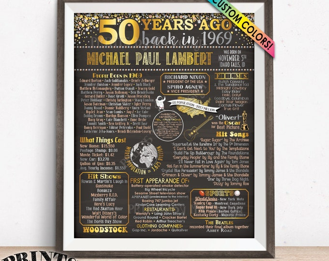 "50th Birthday Gift 1969 Birthday Poster, Flashback 50 Years Ago Back in 1969, Custom Chalkboard Style PRINTABLE 8x10/16x20"" 1969 Bday Poster"