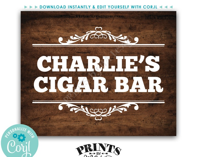 """Cigar Bar Sign, Man Cave Decoration, Custom PRINTABLE 8x10"""" Brown Rustic Wood Style Sign <Edit Yourself with Corjl>"""