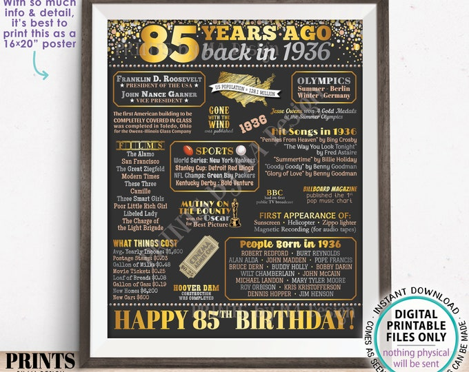 "85th Birthday Poster Board, Back in 1936 Flashback 85 Years Ago B-day Gift, Custom PRINTABLE 16x20"" Born in 1936 Sign"