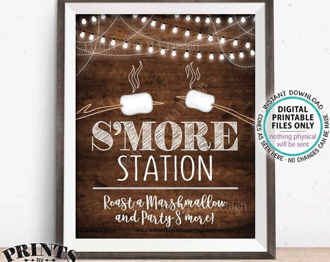 """S'more Station Sign, Roast a Marshmallow and Party S'more, PRINTABLE 8x10"""" Brown Rustic Wood Style Smore Sign <ID>"""