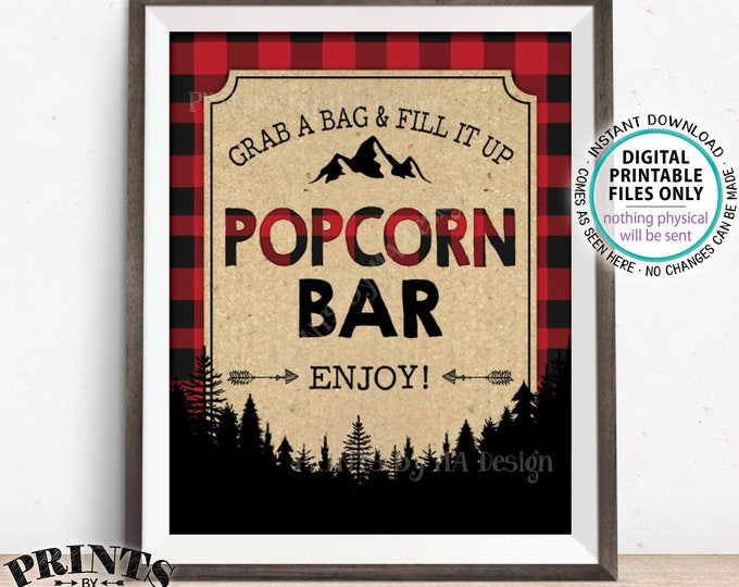 "Popcorn Bar Sign, Lumberjack Popcorn Lumberjack Decor, Grab a Bag & Fill it Up, Red Checker Buffalo Plaid, PRINTABLE 8x10"" Popcorn Sign <ID>"