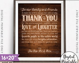 """Wedding Thank You Sign, Thanks Chalkboard Wedding Poster, Thank family & friends, 8x10/16x20"""" Rustic Wood Style Printable Instant Download"""