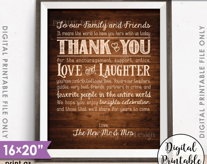 "Wedding Thank You Sign, Thanks Chalkboard Wedding Poster, Thank family & friends, 8x10/16x20"" Rustic Wood Style Printable Instant Download"