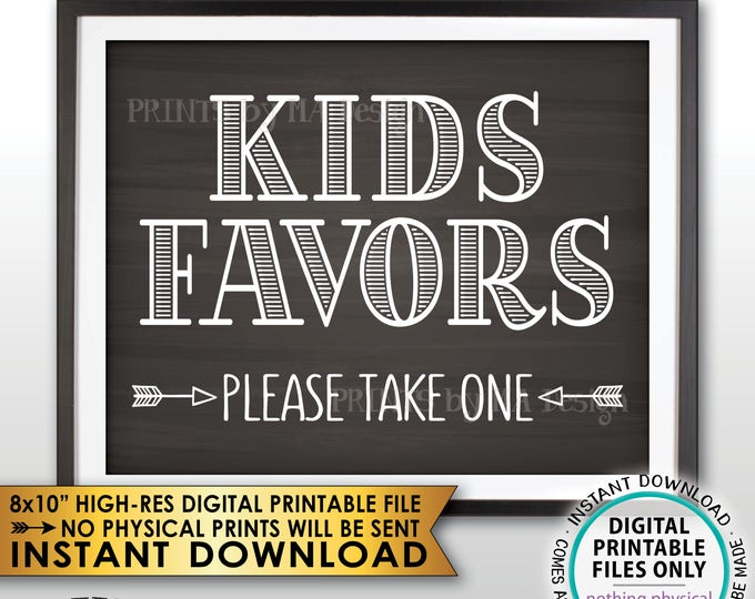 "Kids Favors Sign, Please Take One Wedding Reception Activities for Kids Sign, PRINTABLE 8x10"" Chalkboard Style Instant Download Wedding Sign"