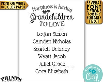 "Grandchildren Sign with Names of Grandkids, Grandparents Gift, PRINTABLE 8x10/16x20"" Black & White Sign <Edit Yourself with Corjl>"