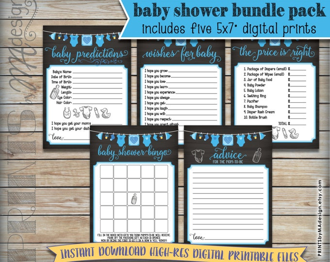 """Baby Shower Games Bundle Pack, Guess Prices, Predictions, Advice, Baby Boy Blue, Five 5x7"""" Chalkboard Style Digital Printable PDF Files <ID>"""