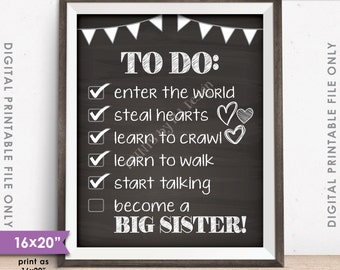 """To Do List Big Sister Checklist Announcement Sign, Pregnant Baby #2, 8x10/16x20"""" Chalkboard Style Instant Download Digital Printable File"""
