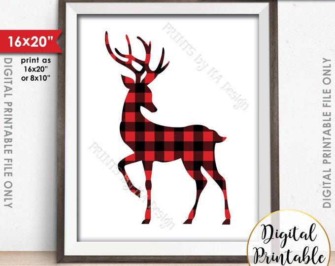 Reindeer Christmas Decor, Lumberjack Reindeer, Red Checker Deer, Lumberjack Deer Sign, Buffalo Plaid Deer, Instant Download PRTINTABLE Art