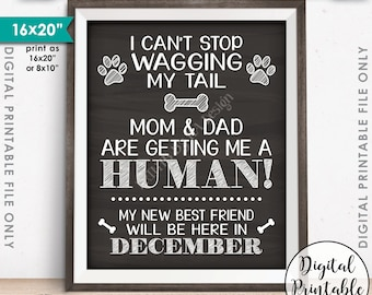 Dog Pregnancy Announcement, Dog Reveal, Mom & Dad are Getting Me a Human in DECEMBER Dated Chalkboard Style PRINTABLE Baby Reveal Sign <ID>