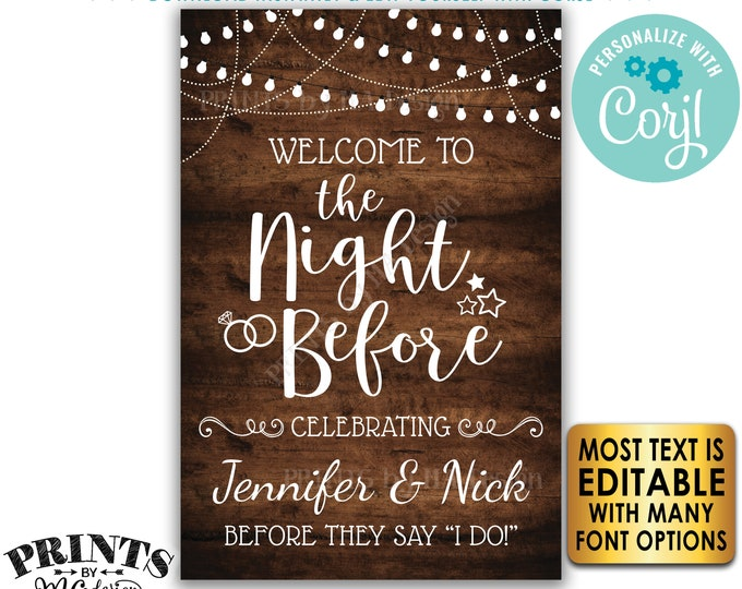 "Rehearsal Dinner Sign, Welcome to the Night Before Sign, Custom PRINTABLE 24x36"" Rustic Wood Style Sign <Edit Yourself with Corjl>"