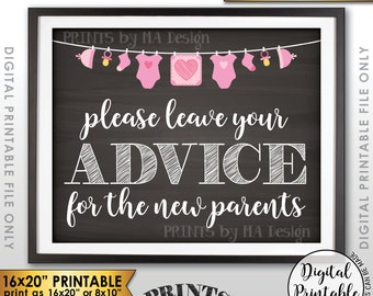 """Advice for the New Parents, Baby Advice Tips Baby Shower Sign Shower Decor, PINK Instant Download 8x10/16x20"""" Chalkboard Style Printable"""