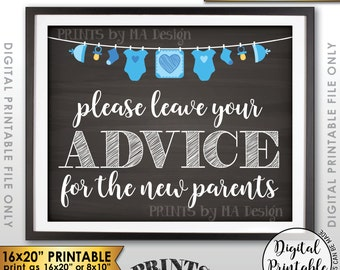 """Advice for the New Parents, Parenting Advice, Baby Advice, Tips, Blue Clothesline, Instant Download 8x10/16x20"""" Chalkboard Style Printable"""