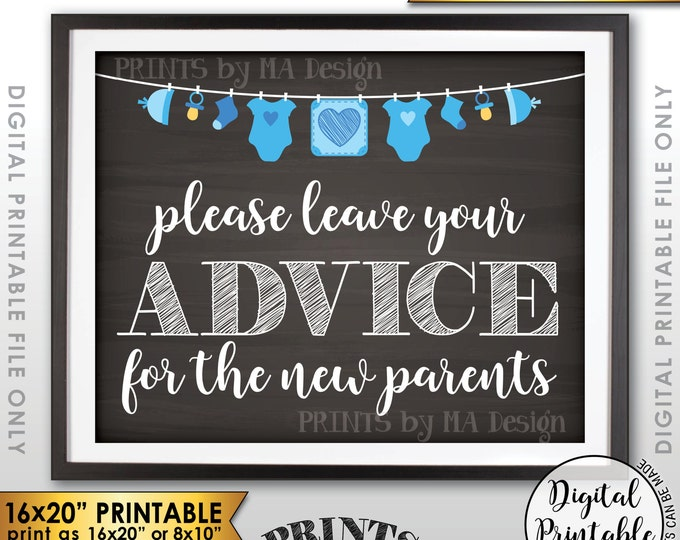 "Advice for the New Parents, Parenting Advice, Baby Advice, Tips, Blue Clothesline, Instant Download 8x10/16x20"" Chalkboard Style Printable"