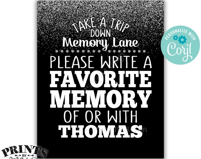 "Memory Sign, Take a Trip Down Memory Lane and Share a Favorite Memory, PRINTABLE 8x10"" Silver Glitter Sign <Edit Yourself with Corjl>"