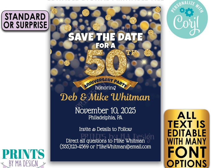 """Editable Navy Blue & Gold Glitter Anniversary Party Save the Date invite, PRINTABLE 5x7"""" Golden Invitation <Edit Yourself with Corjl>"""