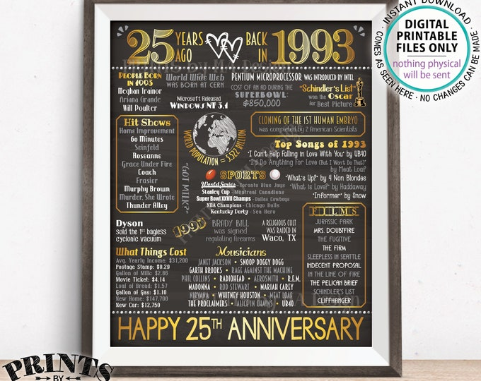 "25th Anniversary Gift, Married in 1993 Anniversary Flashback 25 Years Back in 1993, Gold, PRINTABLE 8x10/16x20"" Chalkboard Style Sign <ID>"