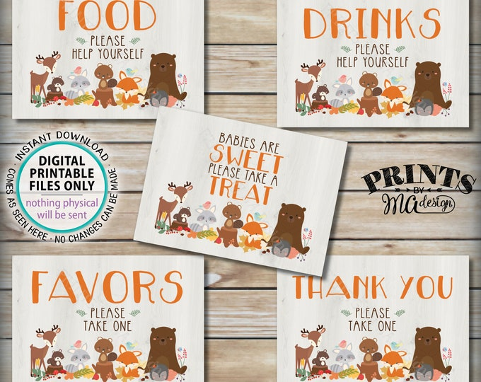 "Woodland Animal Baby Shower Signs, Bundle Pack, Food Drinks Favors, Woodland Animals, Forest Friends Decorations, 5 PRINTABLE 5x7"" Sign <ID>"