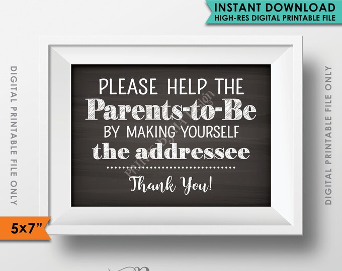"""Baby Shower Address Envelope Sign, Help the Parents-to-Be Address an envelope Shower Decor 5x7"""" Chalkboard Style Instant Download Printable"""