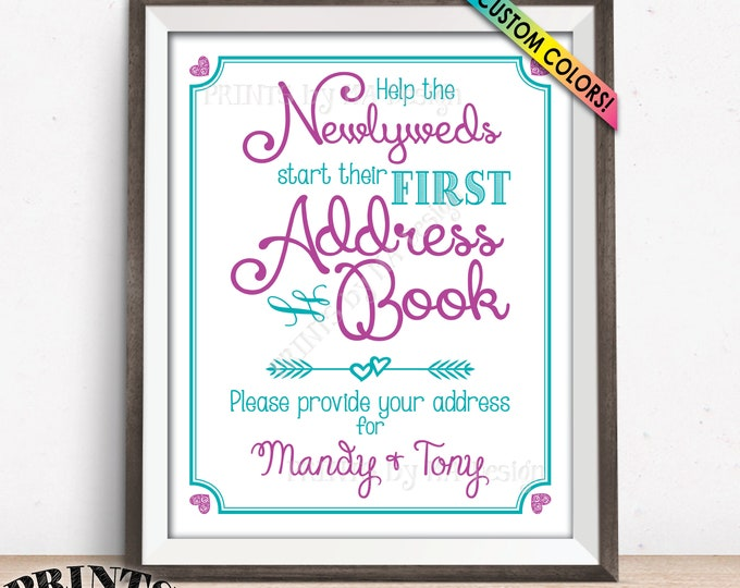 """Address Book Sign, Ask Guests for their Addresses Request, Guestbook Alternative Sign, Custom Colors PRINTABLE 8x10/16x20"""" Wedding Sign"""