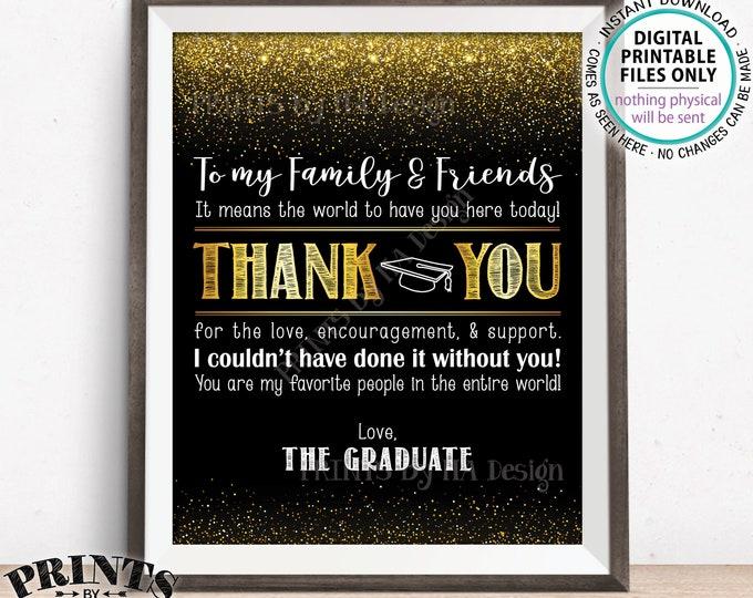 "Graduation Thank You Sign, Graduation Party Decoration Thank You Card, Thanks from the Graduate, PRINTABLE 8x10"" Black & Gold Grad Sign <ID>"