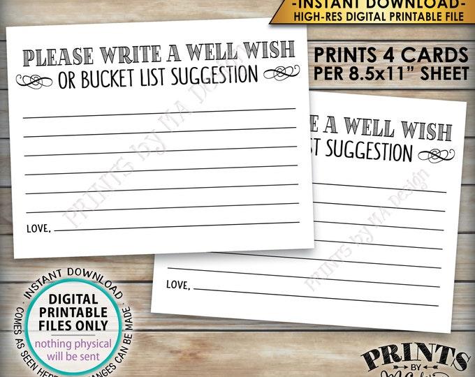 "Well Wish Card, Bucket List Ideas, Please Write a Well Wish or Bucket List Suggestion, Four 4.25x5.5"" Cards per 8.5x11"" PRINTABLE Sheet <ID>"