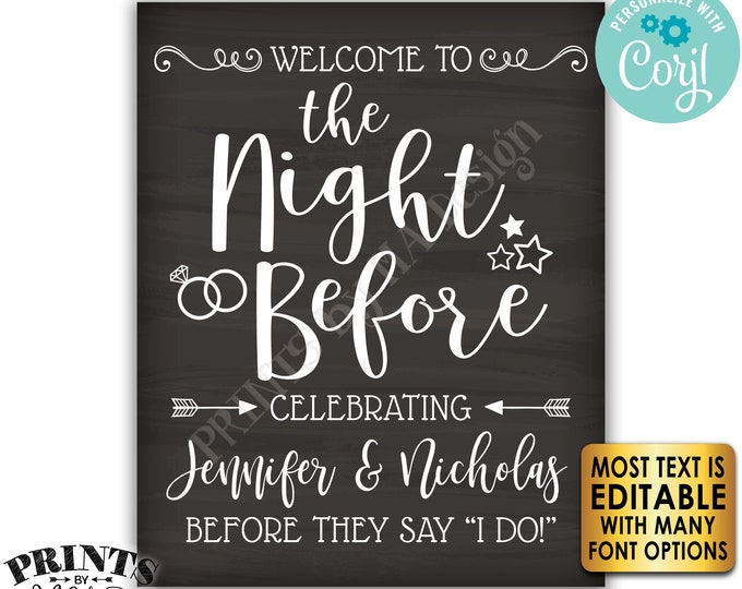"""Rehearsal Dinner Sign, Welcome to the Night Before Sign, PRINTABLE 8x10/16x20"""" Chalkboard Style Sign <Edit Yourself with Corjl>"""