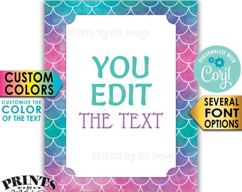 "Custom Mermaid Sign, Choose Your Text Mermaid Party, Create One PRINTABLE 8x10/16x20"" Portrait Mermaid Sign <Edit Yourself with Corjl>"