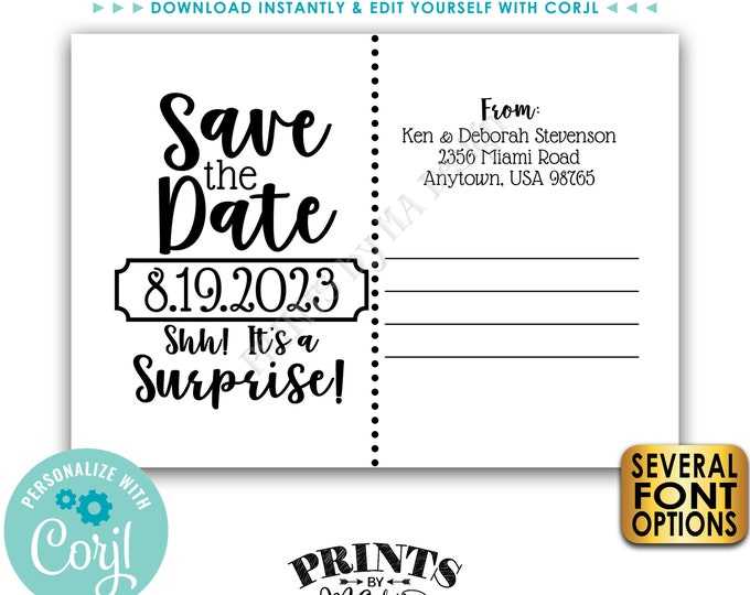 "Save the Date Postcard for a SURPRISE Celebration, Back Side of Invitation, Custom PRINTABLE 5x7"" Save the Date <Edit Yourself with Corjl>"