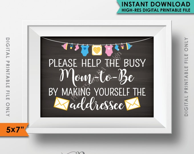 """Address Sign, Baby Shower Envelope Sign, Help the Mom-to-Be Address, Neutral Clothesline, Instant Download 5x7"""" Chalkboard Style Printable"""