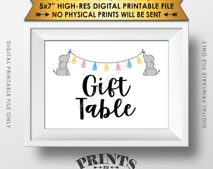 "Elephant Baby Shower Gifts Table Sign, Cards & Gifts Table Sign, Gifts Sign, Neutral Baby Shower Decor, Instant Download 5x7"" Printable Sign"