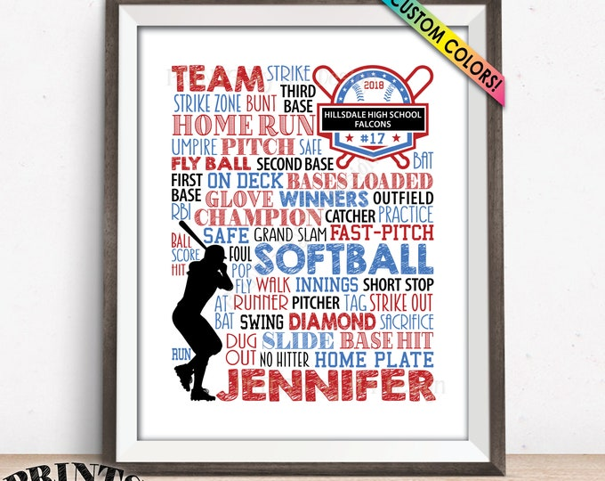 "Personalized Softball Sign, Softball Gift for Seniors, Softball Wall Art, Senior Year Graduation Party Gift for Girls, PRINTABLE 8x10"" Sign"