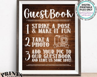 "Guestbook Photo Sign, Share Photos Sign, Wedding Guest Book Photo Sign, Wedding Decor, PRINTABLE 8x10/16x20"" Rustic Wood Style Sign <ID>"