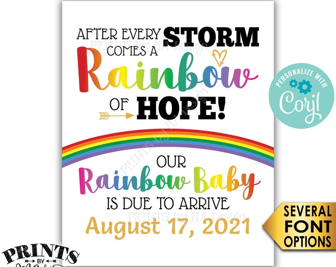 """Rainbow Baby Pregnancy Announcement Sign, Hope after Storm, PRINTABLE 16x20"""" Pregnancy Reveal After Loss <Edit Yourself with Corjl>"""