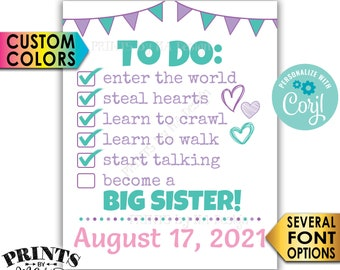 """Big Sister To Do List Pregnancy Announcement, Baby Number 2 Checklist, PRINTABLE 8x10/16x20"""" Baby #2 Reveal Sign <Edit Yourself with Corjl>"""
