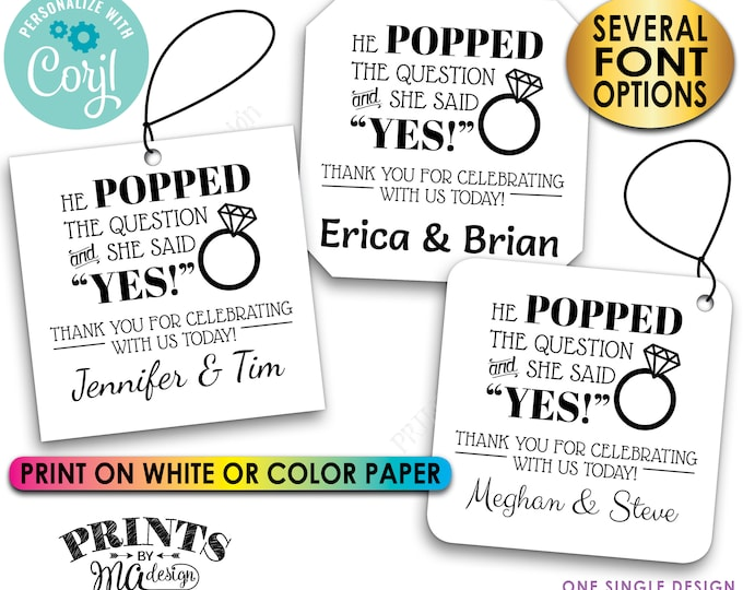 """He Popped the Question & She Said Yes, Engagement Party, Custom 2"""" Square Cards, Digital PRINTABLE 8.5x11"""" File <Edit Yourself with Corjl>"""