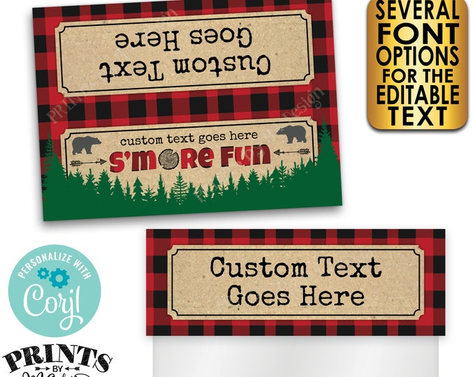 """Lumberjack S'more Fun Goodie Bag Toppers, S'mores Party Favors, Custom PRINTABLE 5x7"""" Labels for Plastic Bags <Edit Yourself with Corjl>"""