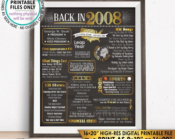 "2008 Flashback Poster, Flashback to 2008 History, 10 Years Ago Back in 2008, 10th Anniversary, PRINTABLE 16x20"" Sign <ID>"