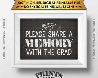 "Share a Memory with the Grad Graduation Party Decorations, School Memories, Share Memories, 5x7"" Chalkboard Style Printable Instant Download"