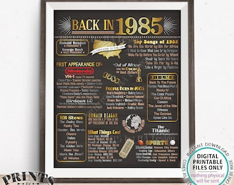"""Back in 1985 Poster Board, Flashback to 1985, Remember 1985, USA History from 1985, PRINTABLE 16x20"""" 1985 Sign <ID>"""