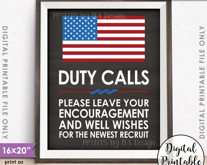 "Military Party Leave your Encouragement & Well Wishes, US Military Boot Camp Party, 8x10/16x20"" Chalkboard Style Printable Instant Download"