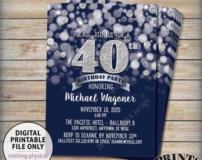 """Navy Blue and Silver Birthday Party Invitation, 30th 40th 50th 60th 70th, Any Birthday, PRINTABLE 5x7"""" Bday Invite, Digital File"""