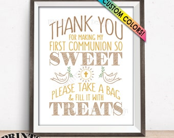 "Thank You for Making My First Communion so Sweet Please take a Bag and Fill it with Treats, Party Favors, PRINTABLE 8x10"" Candy Bar Sign"